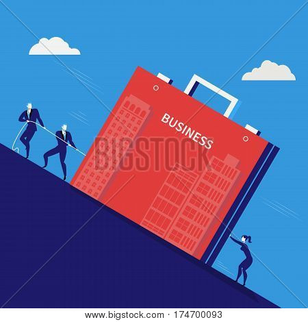 Vector illustration of businessmen pulling heavy business briefcase together. Business teamwork, partnership, hardship concept design element.