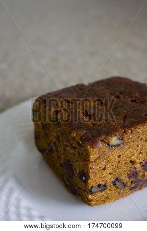 A piece of Pumkin Chocolate Chip Bread.