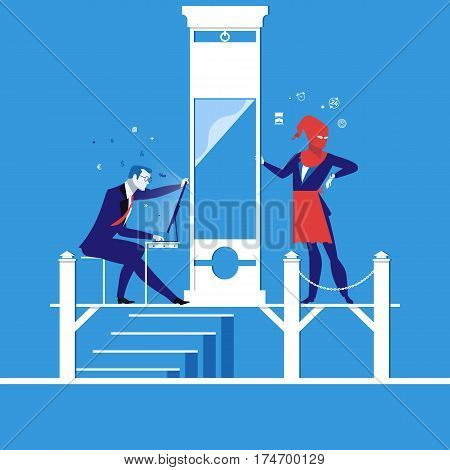 Vector illustration of businessman running out of time to do his work. Time is up. Deadline concept design element.