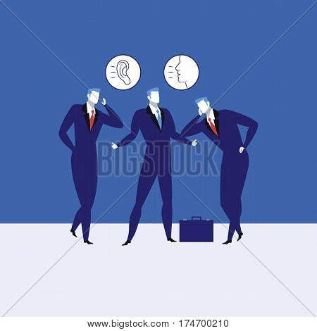 Great communication skills concept vector illustration. Businessmen talking to each other, listening and talking ability icons.