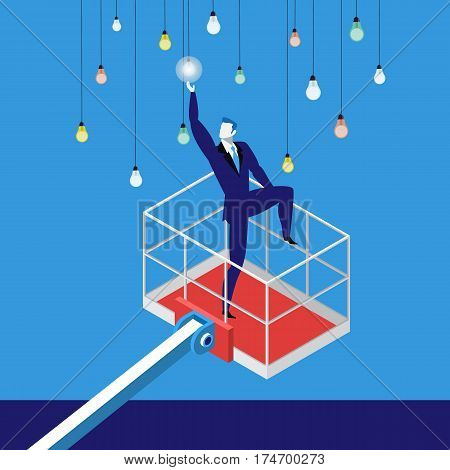 Vector illustration of businessman lifting by crane to reach electric light bulbs. Reaching a goal in business, success, new ideas concept flat style design.