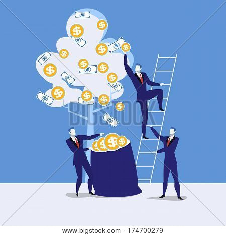 Vector illustration of businessmen picking dollars from money tree. Money plant. Business growth, financial success concept design element in flat style.