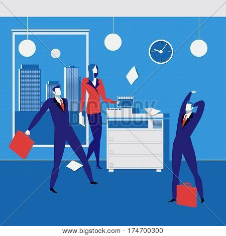 Office workers concept vector illustration. Office interior and equipment. Office life, business situations, flat style design.