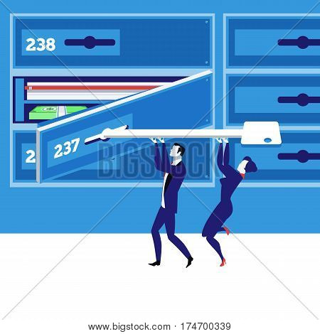 Vector illustration of business people male and female closing safe deposit box with key. Savings and banking safety concept flat style design.