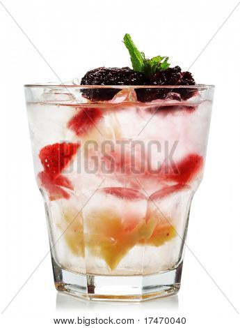 Alcoholic Cocktail made of Vermouth, Blackberry and Pineapple. Isolated on White Background