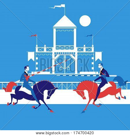 Vector illustration of two businesmen looking like fighting knights with spears riding horses. The jungle of business concept design element in flat style.