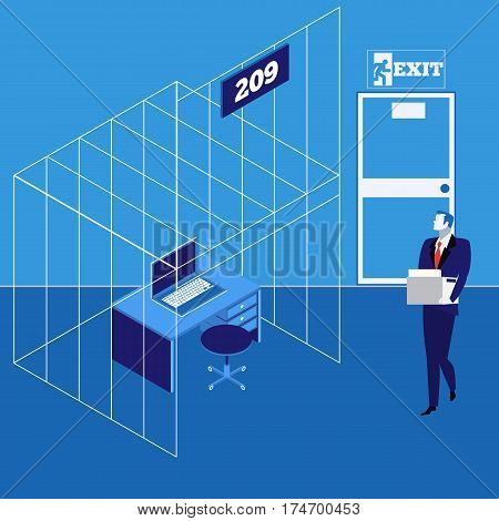 Vector illustration of man carrying a heap of documents and going to his workplace in cage. Businessman caught in a trap, flat style design.