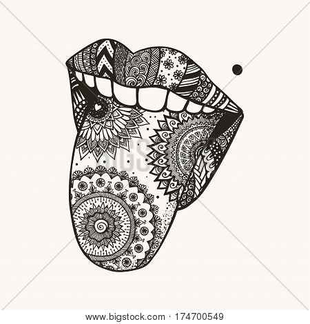 Woman tongue out for T-Shirt design,tattoo and other design element. The symbol of April fools day. Stock Vector