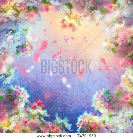 Spring cherry blossom vintage background with flying petals. Sakura flowers on canvas. Painting on expressive shabby fabric texture