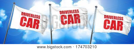 driverless car, 3D rendering, triple flags