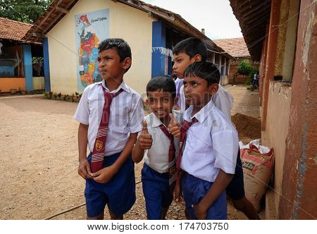 Students Playing At School Yard In Sri Lanka
