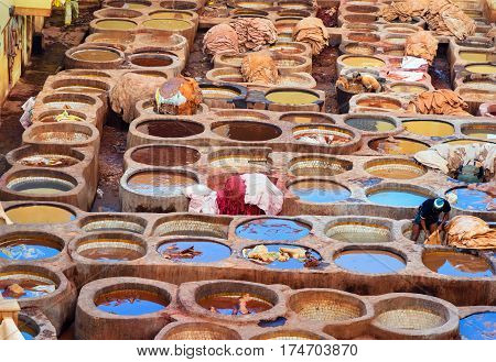 Chouwara Traditional Tannery In Fez, Morocco