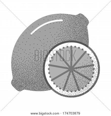 Set of black and white vintage tea icons with retro texture. Lemon. Fresh citrus fruit. Black and white logo. Vector illustration isolated on white background. Vintage design.