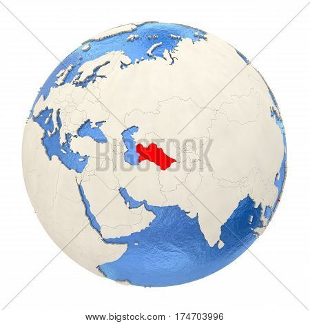 Turkmenistan In Red On Full Globe Isolated On White