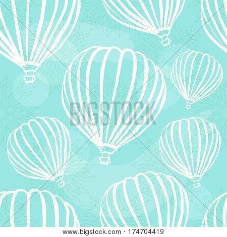 A freehand retro style seamless pattern with hot air balloons in a teal blue sky with brush strokes. Abstract vector background