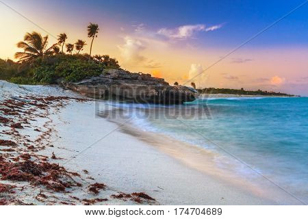 Sunset on the beach of Playa del Carmen at caribbean sea, Mexico
