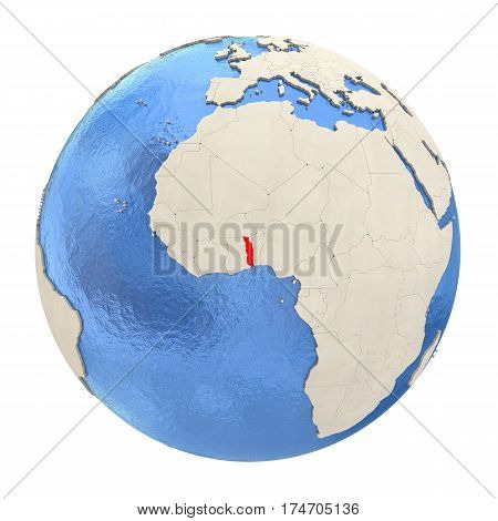 Togo In Red On Full Globe Isolated On White