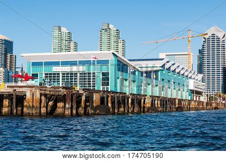 SAN DIEGO, CALIFORNIA - MARCH 2, 2017:  Located on the Embarcadero, the B Street Pier, Port Pavilion and cruise ship terminal situated on the waterfront in downtown.