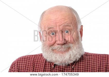 Handsome bald and bearded senior man shows surprised smile grimace or facial expression, isolated on white background
