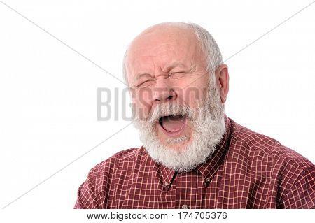 Handsome bald and bearded senior man yawning, isolated on white background