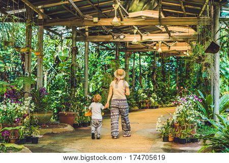 Mother and son are tourists on a tropical park in Malaysia.