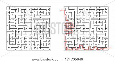 Labyrinth isolated on white background. Kids maze. 3d illustration.