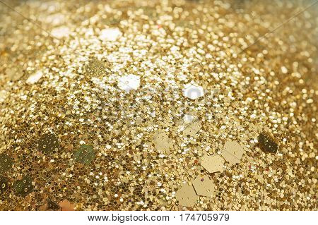 Gold glitter background Defocused bright light abstract