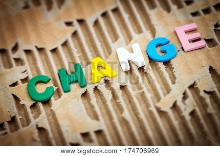 CHANGE wording on abstract torn cardboard background