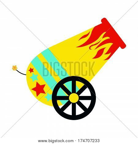 Circus cannon flat icon. Vintage Vector illustration.