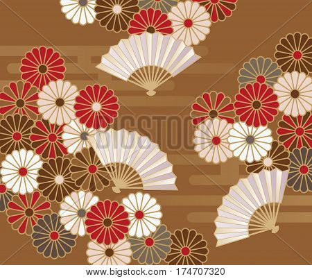 Japanese traditional chrysanthemum floral pattern and hand fan background illustration