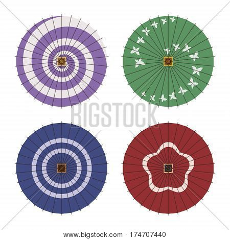 Japanese traditonal waxed paper umbrella pattern illustrations