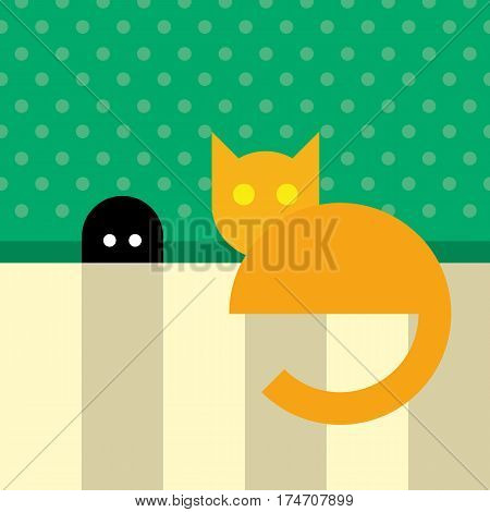 Funny Orange Cat Sitting Near Mouse Hole