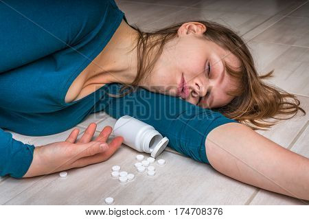Woman Committing Suicide With Pills