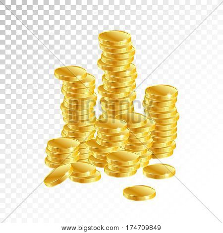 Gold coins. Columns of gold coins on a white background. Vector illustration.Symbol of success, prosperity, wealth in business and modern society