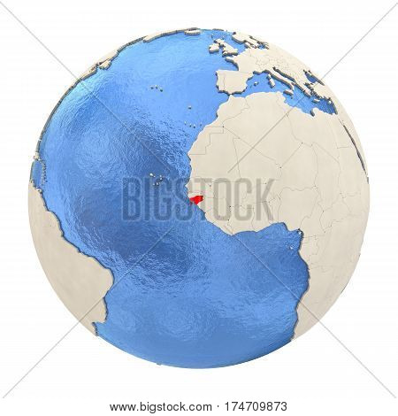 Guinea-bissau In Red On Full Globe Isolated On White