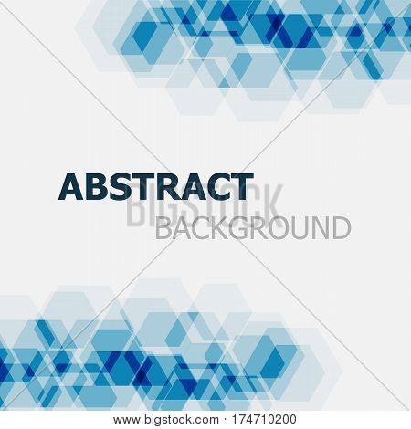 Abstract dark blue hexagon overlapping background, stock vector