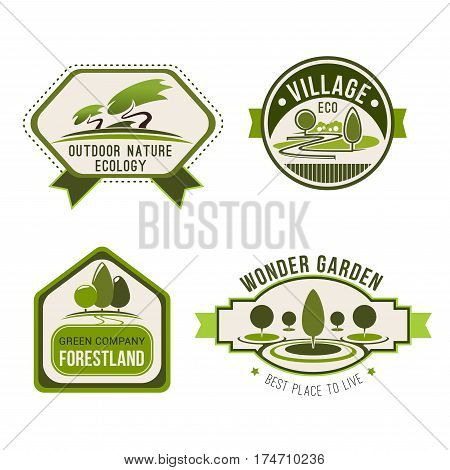 Ecology nature label set. Eco green badges with nature landscape of park alley, garden path and forest with green trees and plants. Eco friendly lifestyle, environment themes design