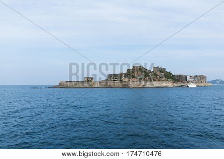 Battleship Island in Nagasaki city of Japan