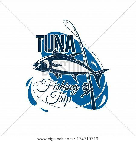 Tuna fishing trip symbol. Atlantic bluefin tuna fish on fishing rod with water splashes emblem for fishing sport, fisherman club, sea fishing tour and fishery industry design