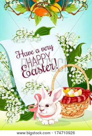 Easter Egg Hunt rabbit greeting card. Easter bunny with egg hunt basket and floral wreath of lily flowers and green leaves, supplemented by paper scroll with wishes of Happy Easter