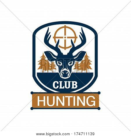 Hunting badge of hunt club. Deer animal head with target and forest trees on heraldic shield emblem for hunting sport and hunter club design
