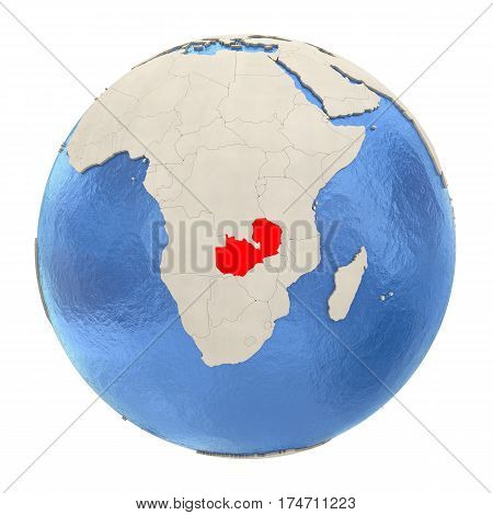 Zambia In Red On Full Globe Isolated On White