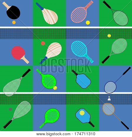 flat vector set of different game rackets balls and shuttlecock to play to badminton table and big tennis beach and platform tennis pickleball squash on court colors backgrounds