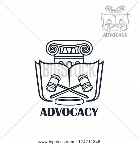 Law firm and lawyer services sign. Advocacy symbol with law book and crossed judge mallets for lawyer office and legal firm design