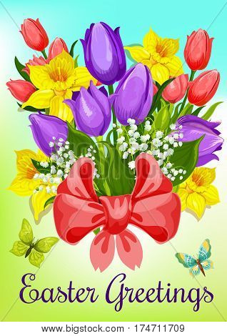 Easter flowers greeting card. Bunch of tulip, lily, narcissus flowers and green leaves, tied with red ribbon with bow. Easter spring holidays cartoon poster, Holy Sunday themes design