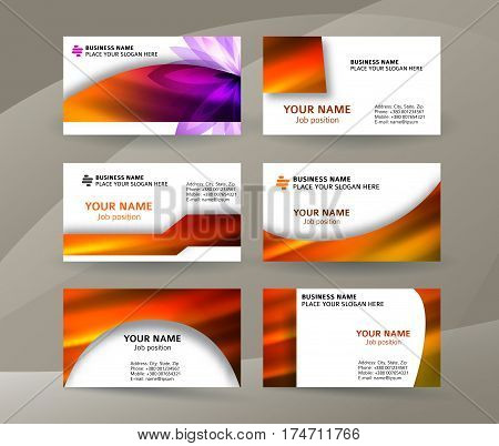 Business Card Layout Template Set28