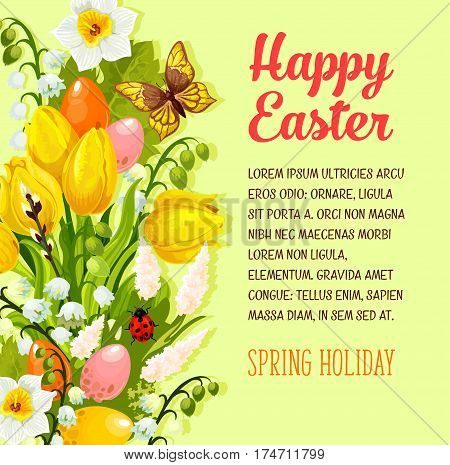 Happy Easter greeting poster of paschal eggs and springtime tulop flowers bunch, snowdrops and lily of valley. Vector Easter card for spring holiday of Resurrection Sunday religion celebration