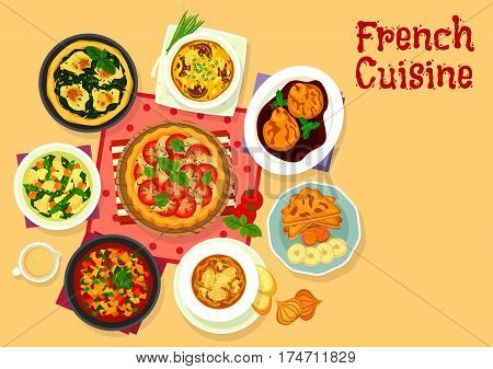 French cuisine tasty dinner icon of chicken tomato pie with cheese, vegetable stew ratatouille, banana toast, pear fruit in wine sauce, vegetable rice soup, mushroom potato casserole, spinach egg pie
