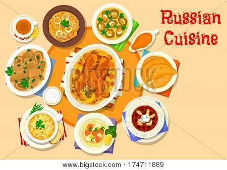 Russian cuisine delicious lunch icon with mushroom dumplings, stuffed duck with potato, cabbage roll, jellied fish and beef tongue, fried meat pie, cold beet apple soup, pea soup