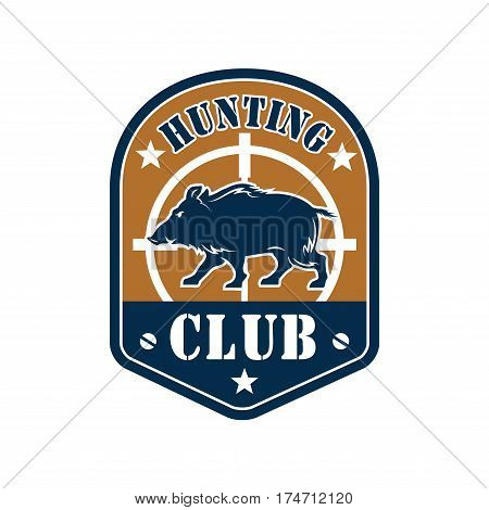 Hunting club heraldic shield badge of wild boar with rifle target. Hunting tour sign, hunter camp and outdoor adventure label design